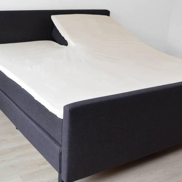 Snoozing - Flanel - Split-topper - Hoeslaken - 180x210/220 cm - Ivoor
