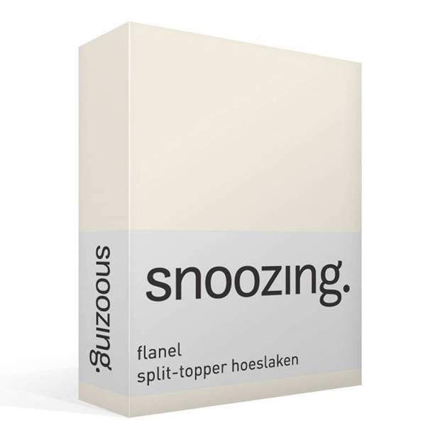 Snoozing - Flanel - Split-topper - Hoeslaken - 160x210/220 cm - Ivoor