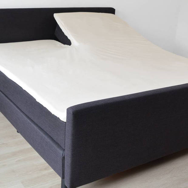 Snoozing - Katoen - Split-topper - Hoeslaken - Lits-jumeaux - 160x210/220 cm - Ivoor