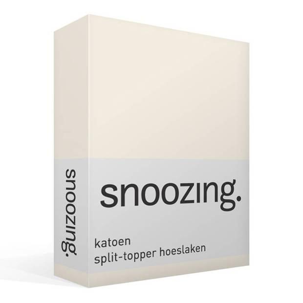 Snoozing - Katoen - Split-topper - Hoeslaken - Tweepersoons - 140x200 cm - Ivoor