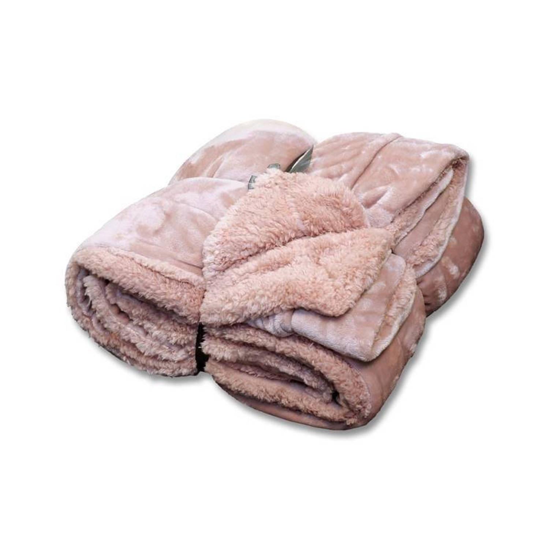 Unique Living Jonas fleece plaid - 100% polyester, Fleece polyester - 150x200 cm - Roze, Old Pink