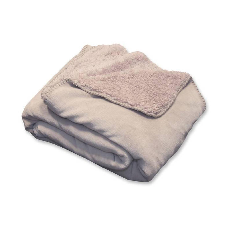 Unique Living Tavi fleece plaid - 100% polyester, Fleece polyester - 130x160 cm - Zand, Pebble