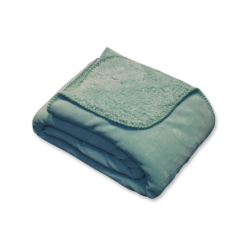 Unique Living Tavi fleece plaid - 100% polyester, Fleece polyester - 130x160 cm - Groen, Mineral Blue