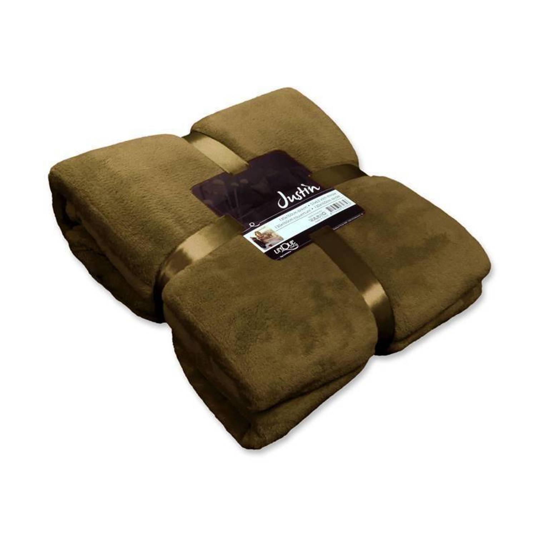 Unique Living Justin fleece plaid - 100% polyester, Fleece polyester - 150x200 cm - Groen, Lizzard
