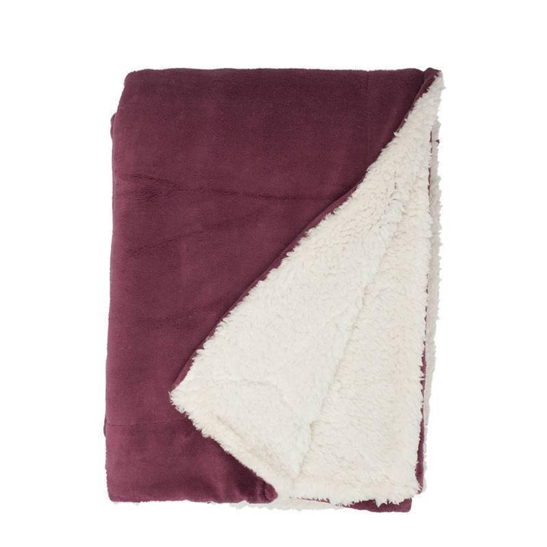 Unique Living Lars fleece plaid - 100% polyester, Fleece polyester - 150x200 cm - Rood, Hawthorn