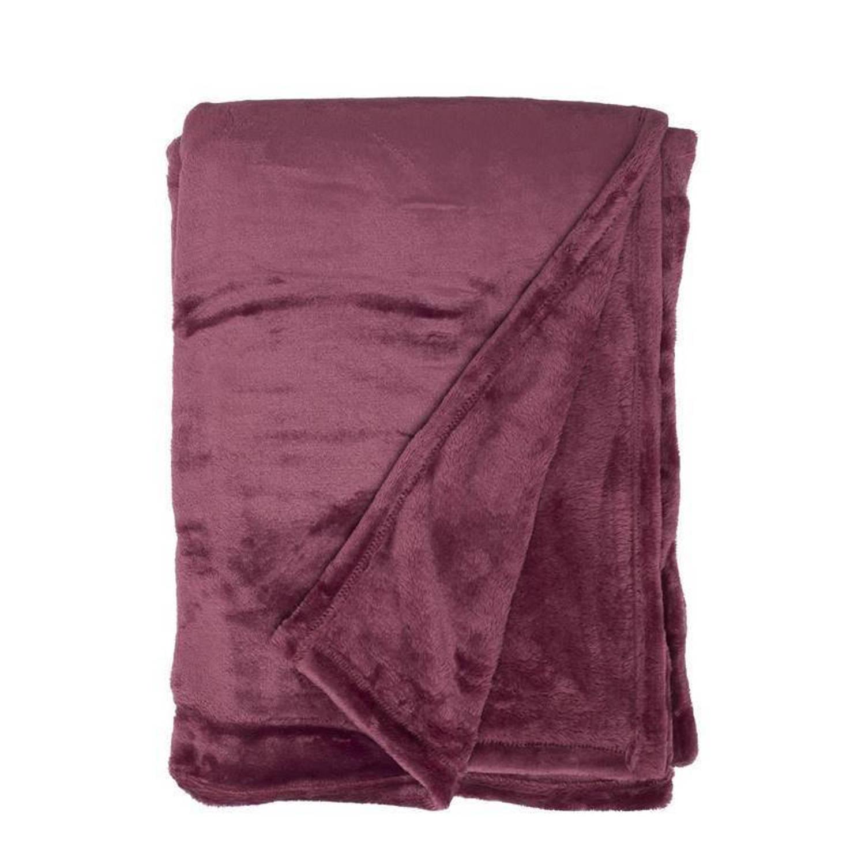 Unique Living Blush fleece plaid - 100% polyester, Fleece polyester - 150x200 cm - Rood, Hawthorn