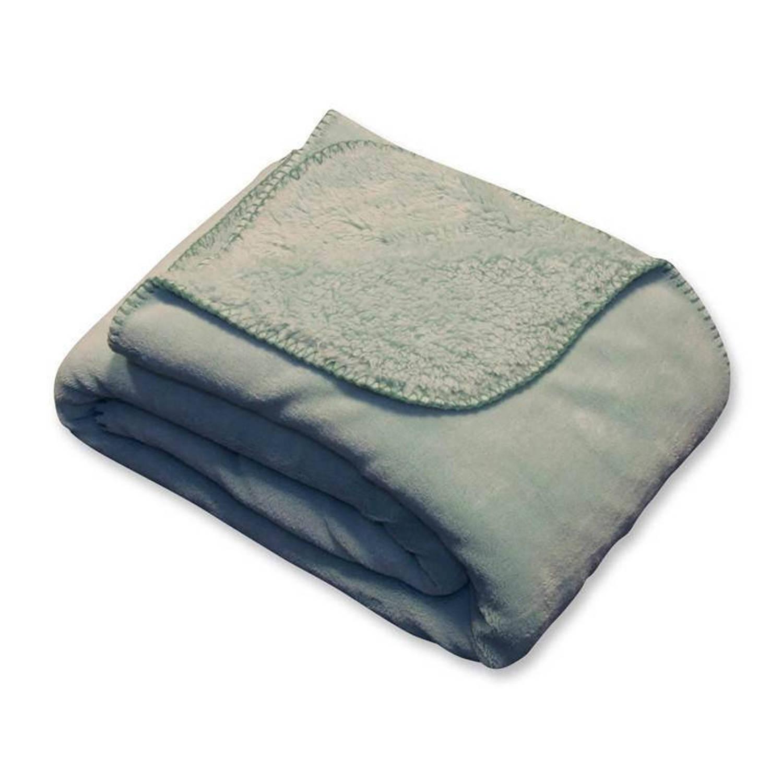 Unique Living Tavi fleece plaid - 100% polyester, Fleece polyester - 130x160 cm - Groen, Harbor green