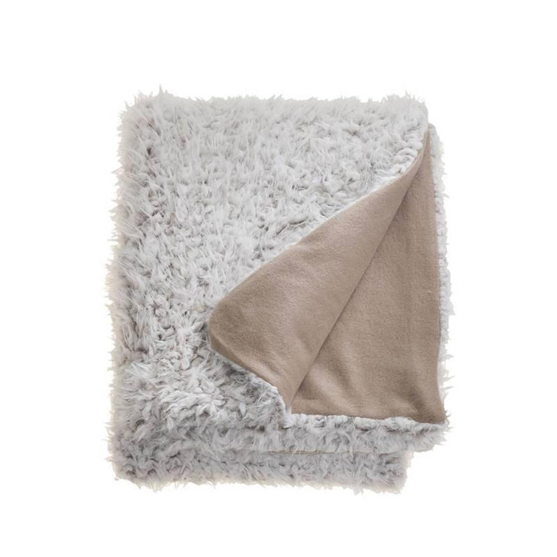Unique Living Salvo fleece plaid - 100% polyester, Fleece polyester - 150x200 cm - Ivoor, Stone