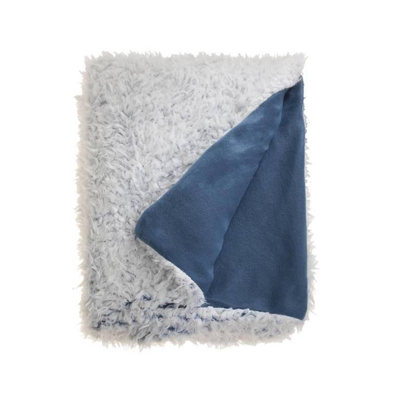 Unique Living Salvo fleece plaid - 100% polyester, Fleece polyester - 150x200 cm - Blauw, Copen Blue