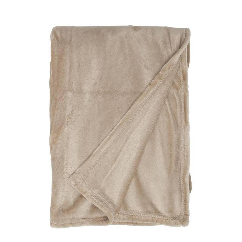 Unique Living Enzo fleece plaid - 100% polyester, Fleece polyester - 130x180 cm - Beige