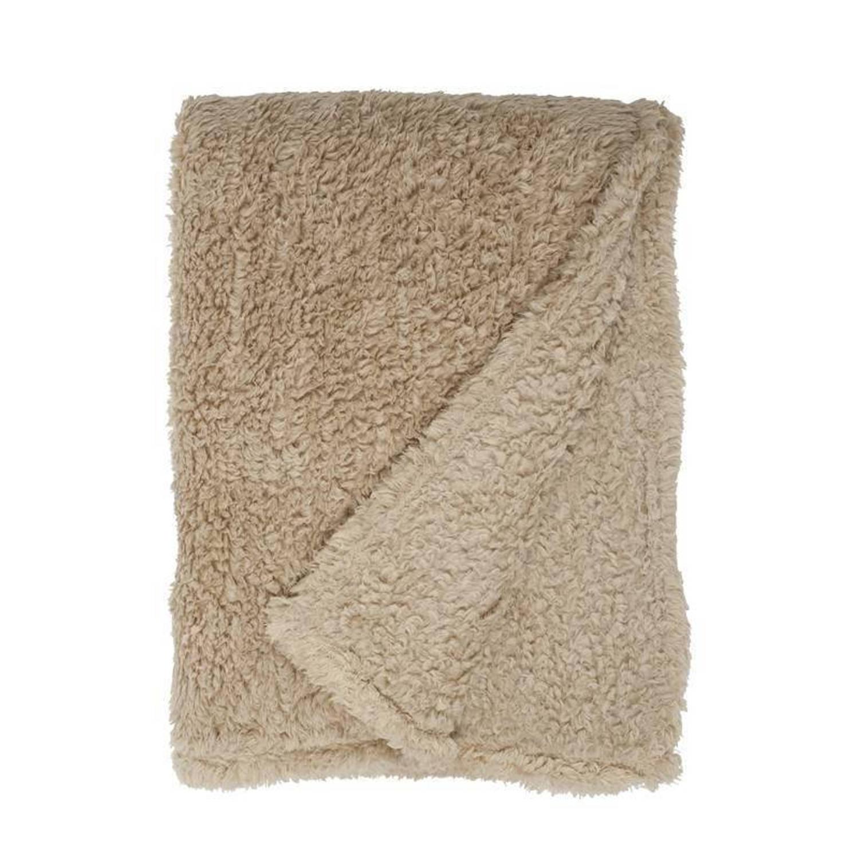Unique Living Teddy fleece plaid - 100% polyester, Fleece polyester - 150x200 cm - Beige