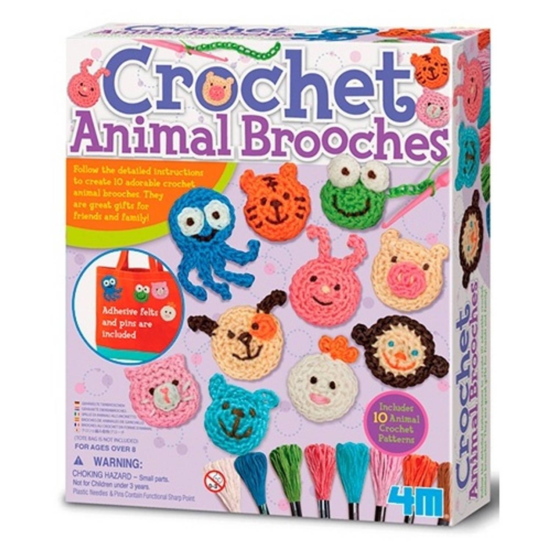 Afbeelding van 4m crea easy knit: gehaakte dierenbroches 33-delig