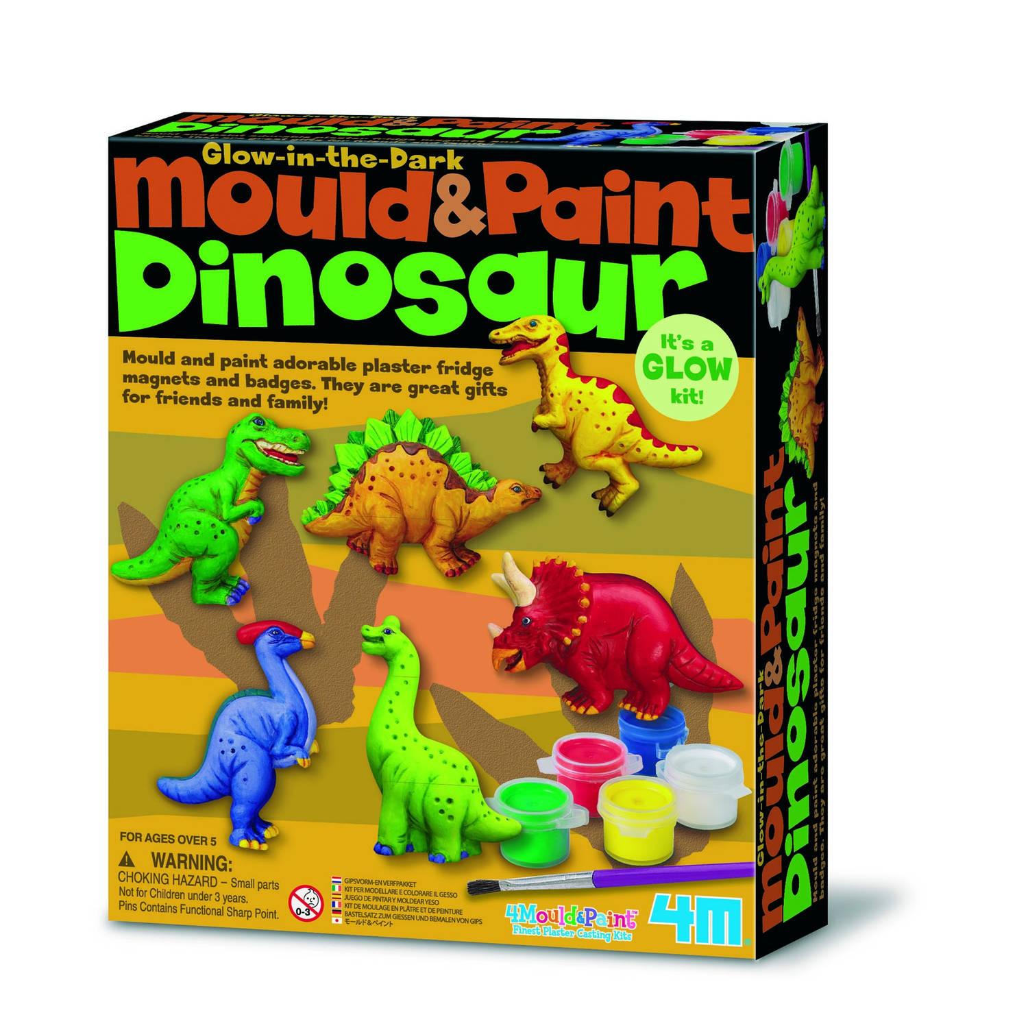 Afbeelding van 4m crea gips gieten en verven: glow-dinosaurussen