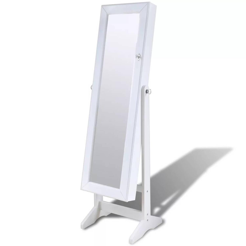 Sieradenkast Met Spiegeldeur En Led Lamp Wit Blokker