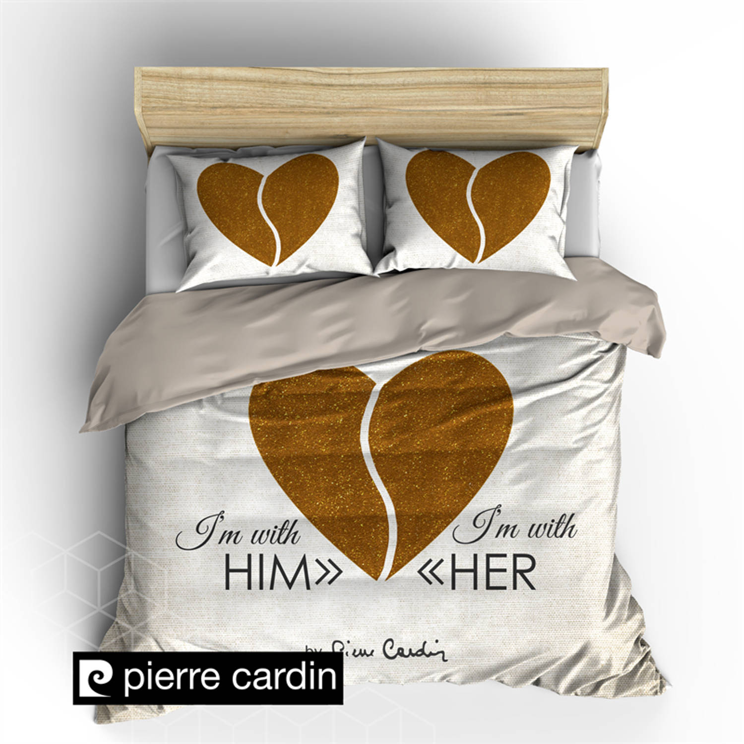 Pierre cardin dekbedovertrek him & her ecru/gold-240x200/220