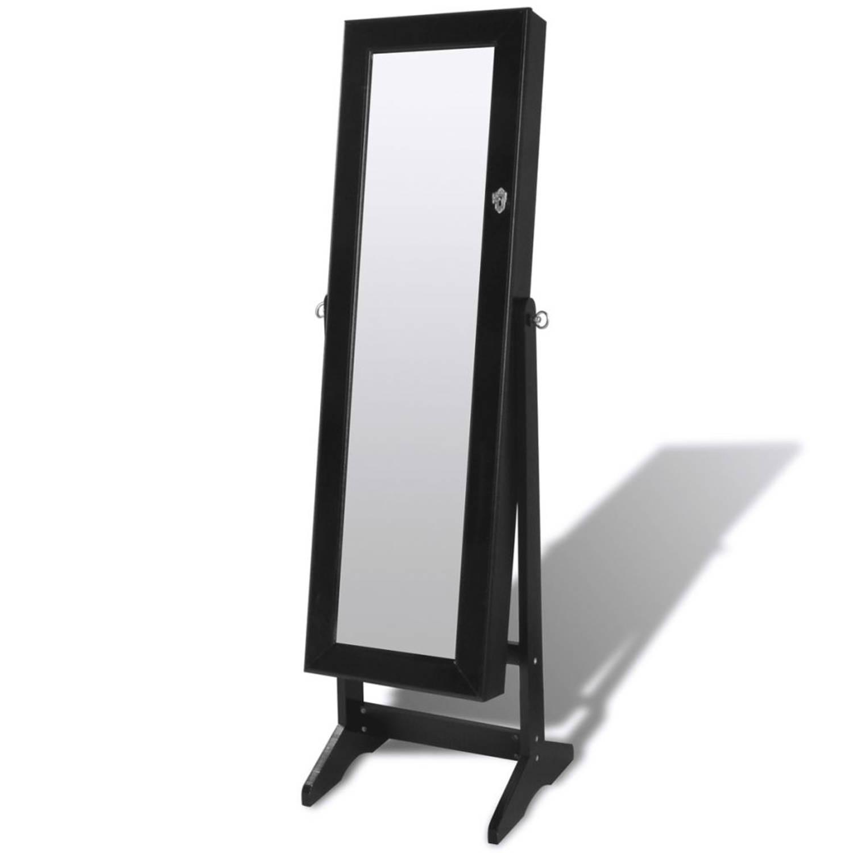 Sieradenkast met LED-lamp en spiegeldeur (zwart)