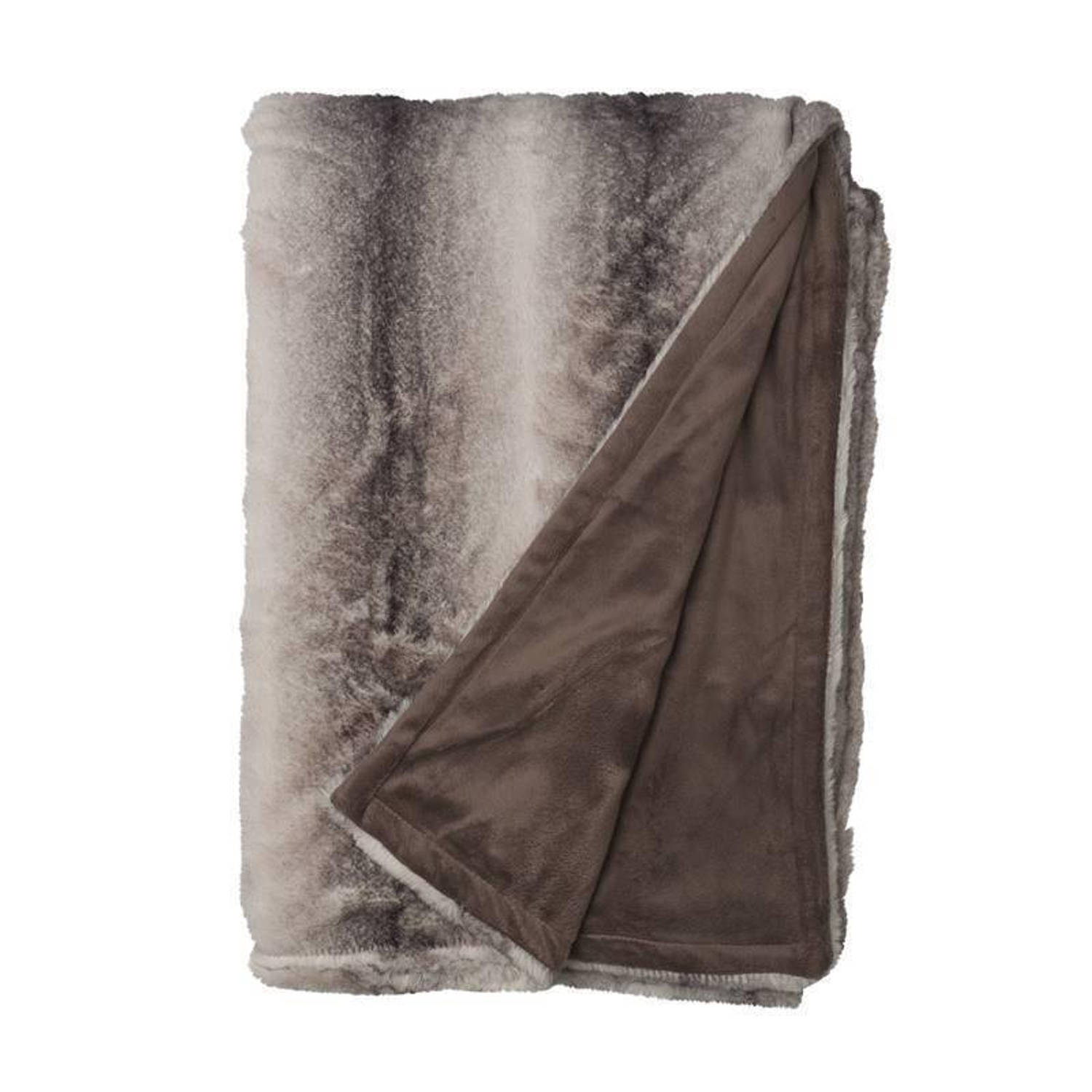 Snoozing Andria fleece plaid - 100% polyester, Fleece polyester - 150x200 cm - Taupe