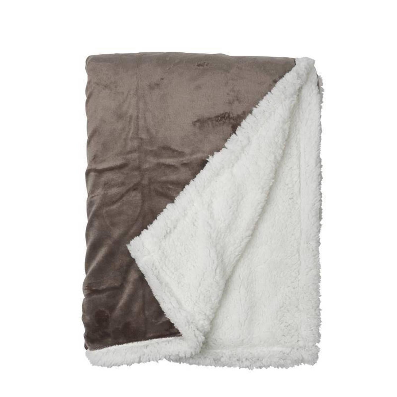 Snoozing Uni fleece plaid - 100% polyester, Fleece polyester - 150x200 cm - Taupe