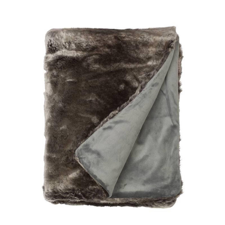 Snoozing Tove fleece plaid - 100% polyester, Fleece polyester - 150x200 cm - Grijs, Bruin