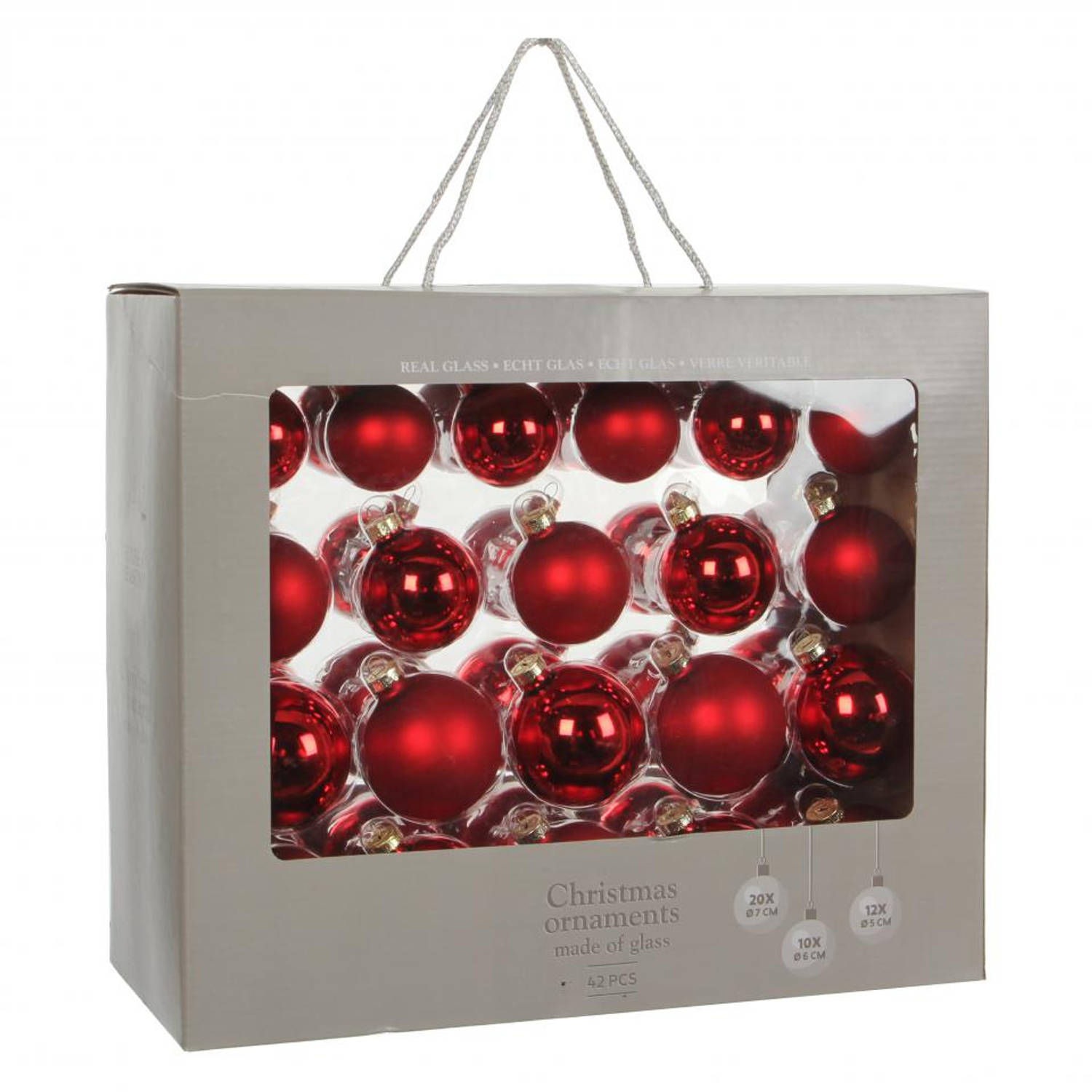 House of seasons ornament kerstbal - rood - 42 stuks