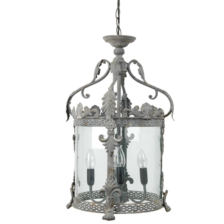 Clayre & eef lamp grijs ø 32x132 cm - grijs - ijzer