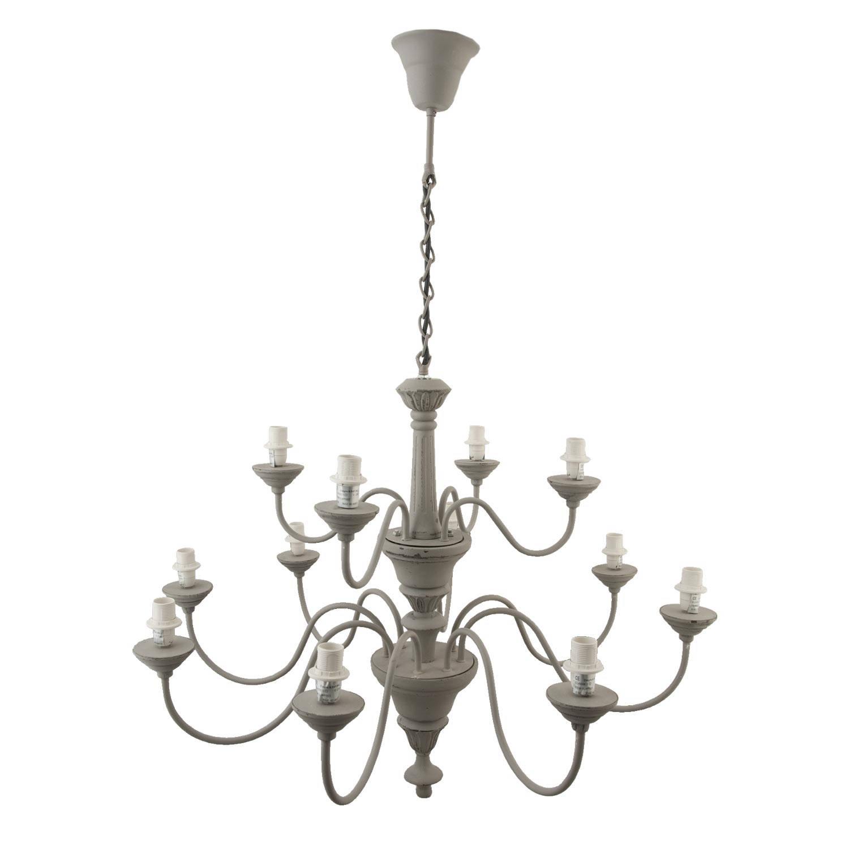 Clayre & eef hanglamp 100x81x81 cm 12x e14 max. 60w - grijs - ijzer