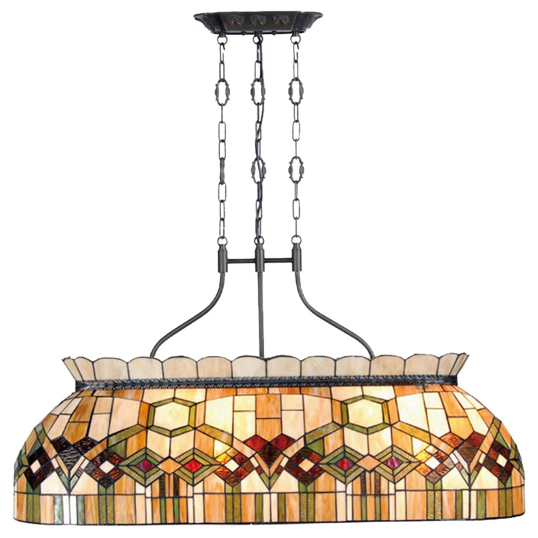 Clayre & eef tiffany grote hanglamp uit de mystica serie - bruin, groen, beige, ivory, wit - glas, metaal