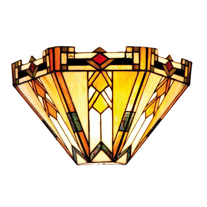 Clayre & eef tiffany wandlamp uit de modern lines serie - groen, rood, geel, multi colour - ijzer, g