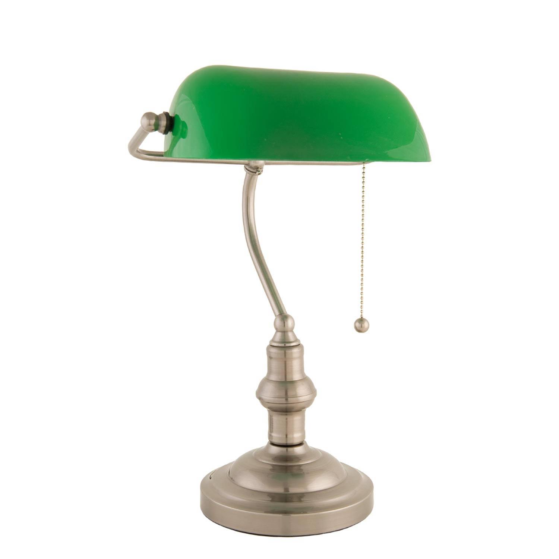 Clayre & eef bankierslamp nikkel kleur groen glas 40 x ø 27 cm e27 max 40 - groen, koper - glas, metaal