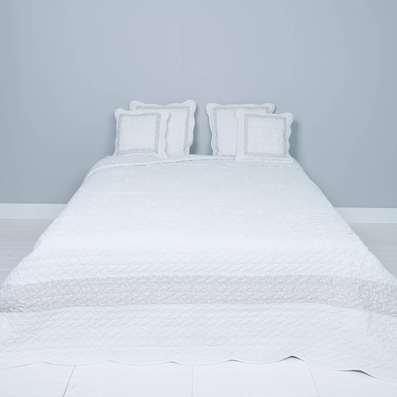 Clayre & eef bedsprei 260x260 - grijs, wit - katoen, polyester, 100% katoen, vulling 100% polyester
