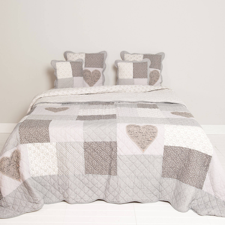 Clayre & eef bedsprei 230x260 - grijs, wit - katoen, polyester, 100% katoen, vulling 100% polyester