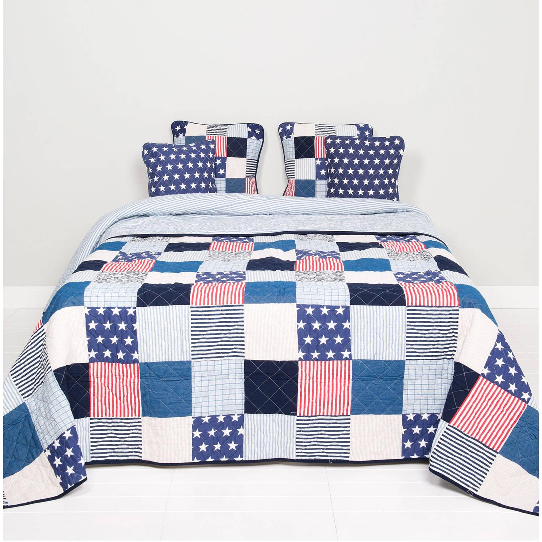 Clayre & eef bedsprei / quilt 180x260 cm stars en stripes - wit, rood, blauw, zwart - katoen, polyester