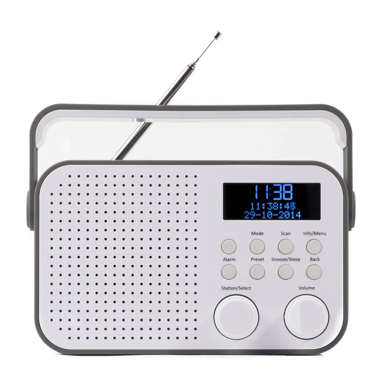 Nikkei ndb20gy portable dab+ radio met alarm, fm autoscan en aux in