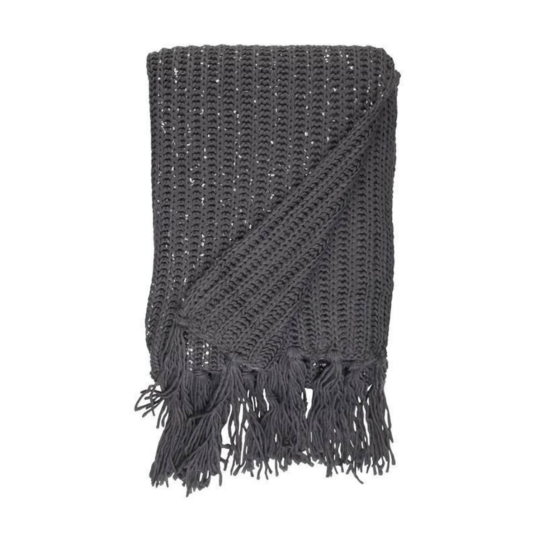 Unique Living Mees plaid - 100% polyester - 130x160 cm - Grijs, Dark grey