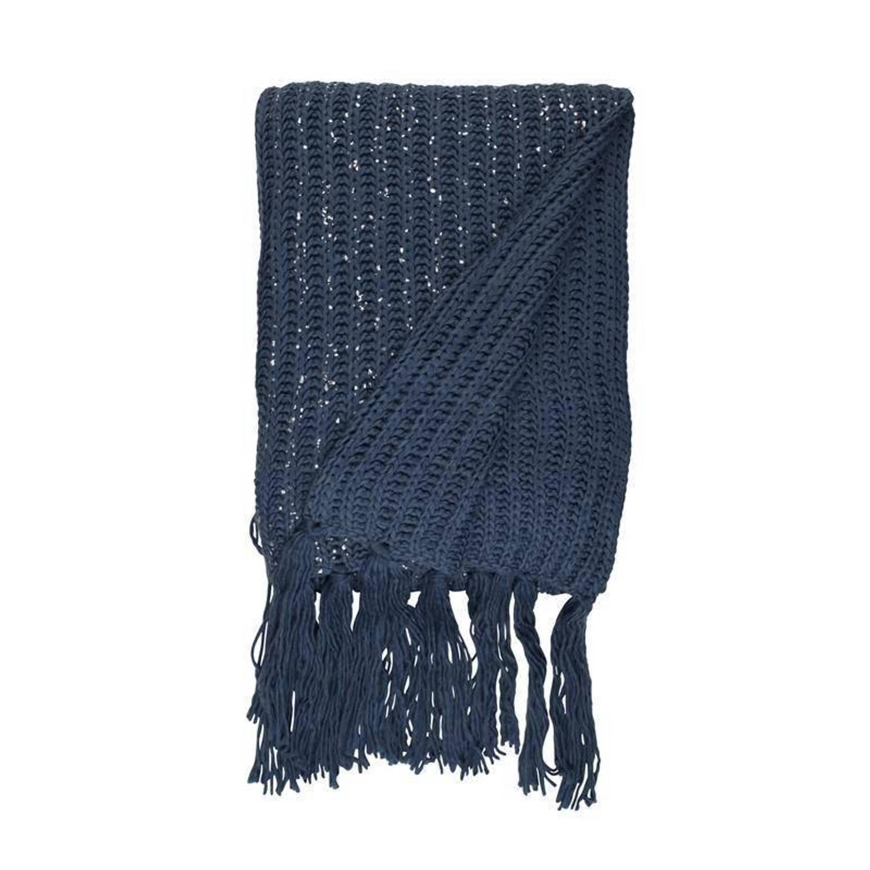 Unique Living Mees plaid - 100% polyester - 130x160 cm - Blauw, Copen Blue