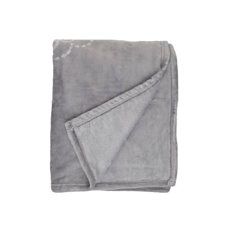 Unique Living Bloem fleece plaid - 100% polyester, Fleece polyester - 130x160 cm - Grijs