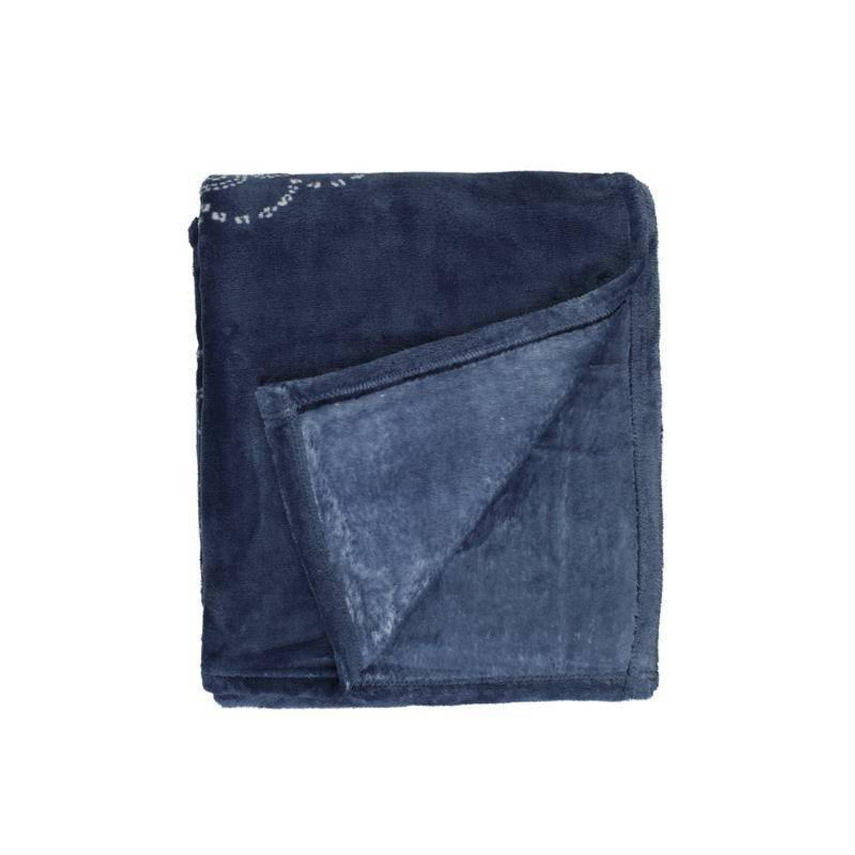 Unique Living Bloem fleece plaid - 100% polyester, Fleece polyester - 130x160 cm - Blauw