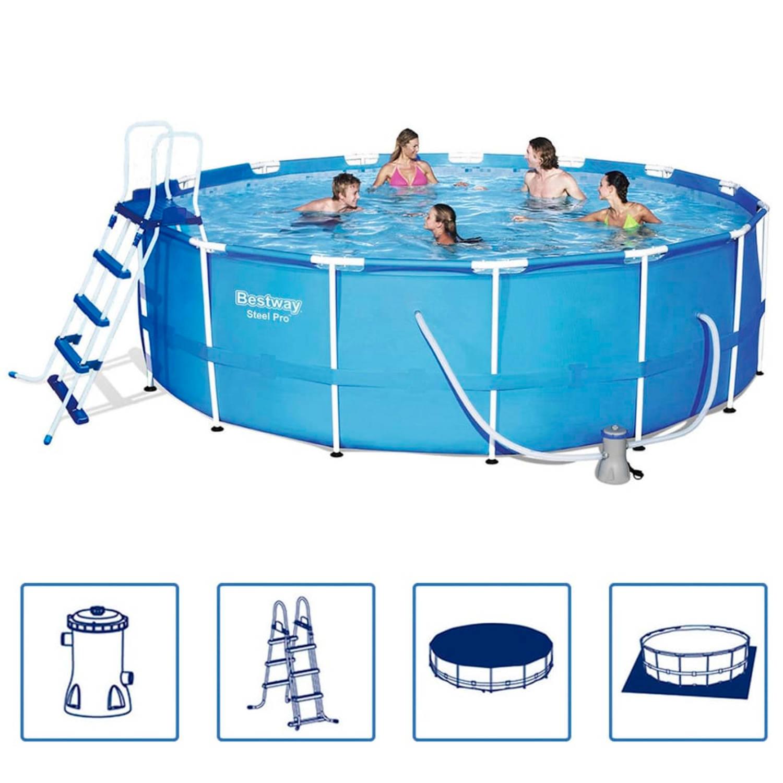 Bestway steel pro zwembad stalen frame rond 457x122 cm for Blokker zwembad