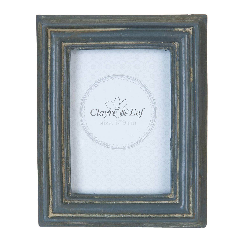 Clayre & eef fotolijst 10x2x12 cm / 6x9 cm - grijs - kunststof