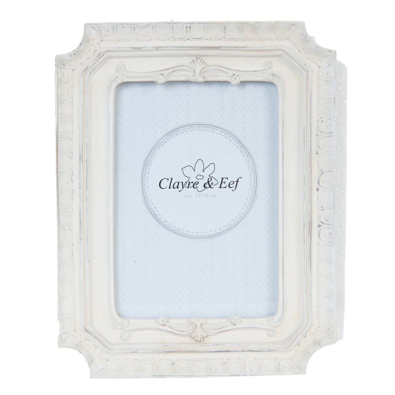 Clayre & eef fotolijst 19x2x24 cm / 13x18 cm - wit - kunststof