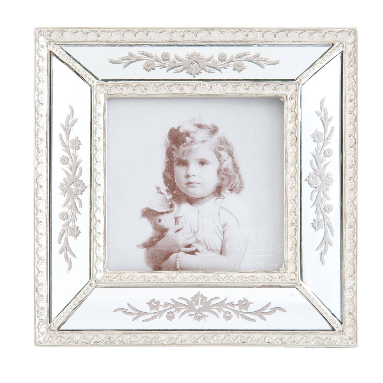 Clayre & eef fotolijst 17x2x17 cm / 10x10 cm - zilver - kunststof