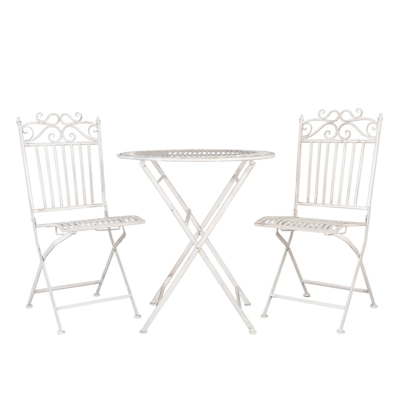 Clayre & eef tafel + 2 stoelen o 70x76 - 2x 38x48x96 cm - wit - metaal