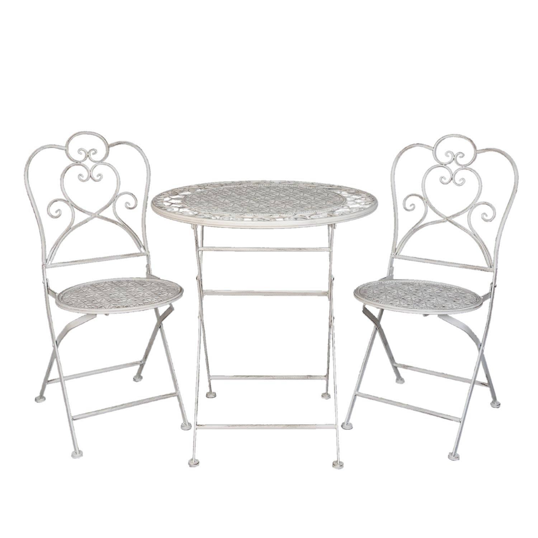 Clayre & eef tafel + 2 stoelen o 70x75 - (2) 42x39x93 cm - wit - metaal