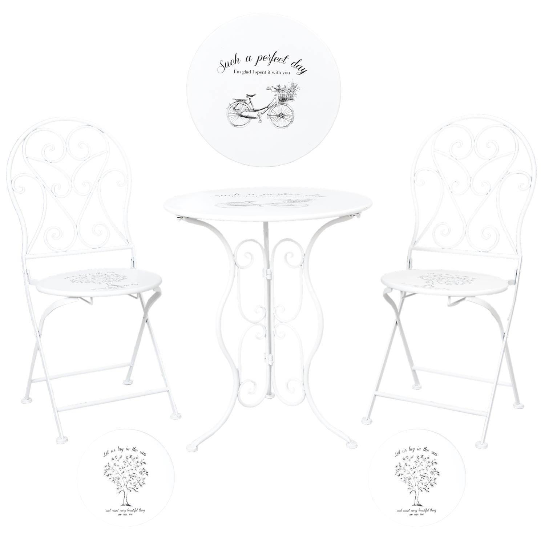 Clayre & eef tafel + 2 stoelen o 60x70/40x40x92 cm - wit - metaal