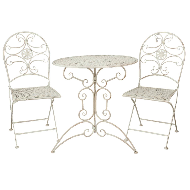 Clayre & eef tafel + 2 stoelen o 70x74/40x45x95 cm - wit - metaal