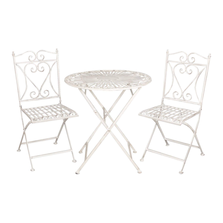 Clayre & eef tafel + 2 stoelen o 70x75/40x47x94 cm - wit - metaal