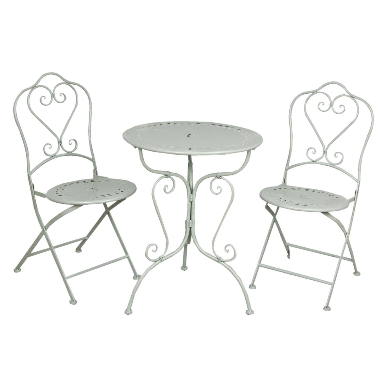 Clayre & eef tafel + 2 stoelen o 62x73/48x40x93 cm - groen - metaal