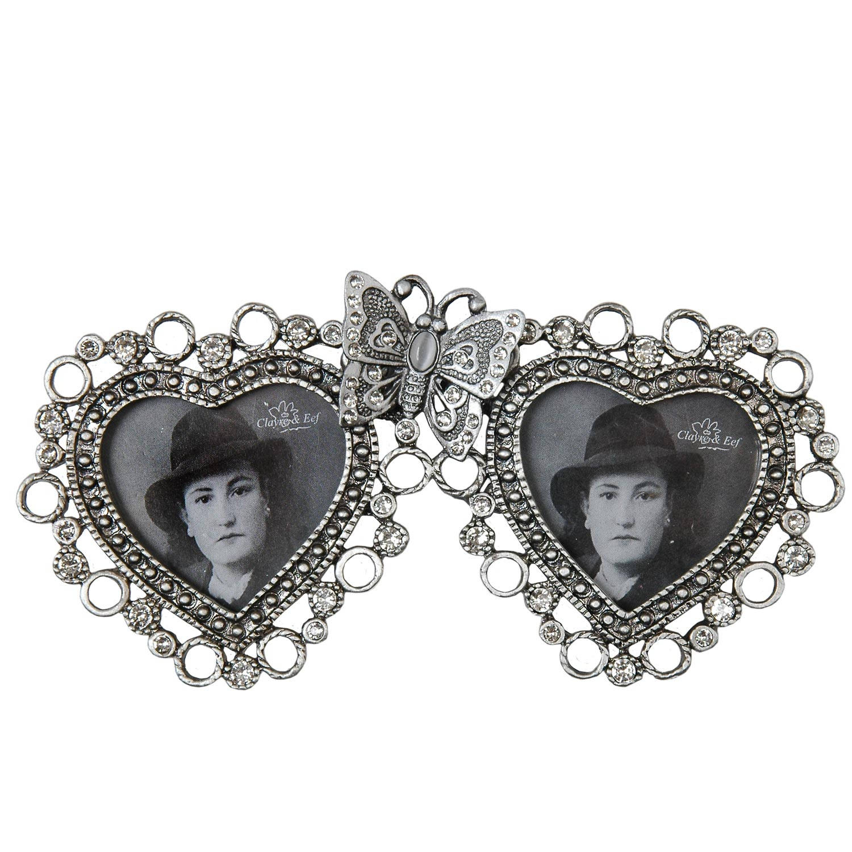 Clayre & eef fotolijst 13x7 cm / 4x4 cm (2) - zilver, grijs - metaal