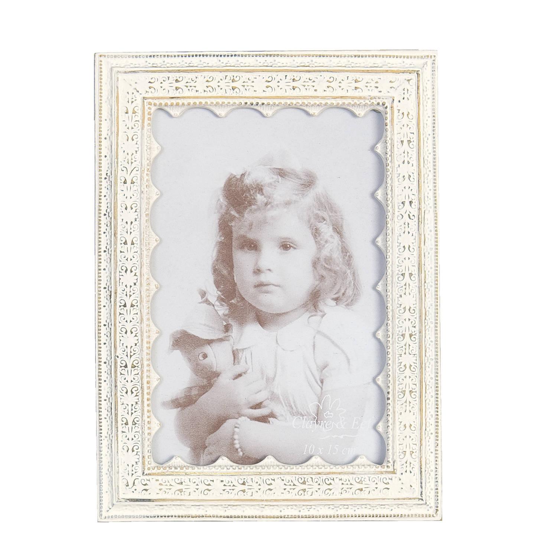 Clayre & eef fotolijst 14x19 cm / 10x15 cm - wit - kunststof