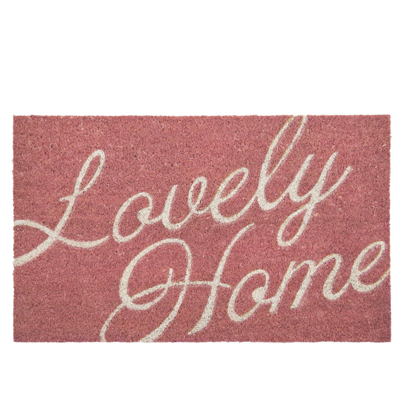 Clayre & eef deurmat 75x45 cm - wit, roze - kokosvezel
